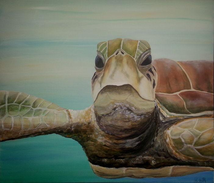 Unterwasser, Tiere, Schildkröte, Malerei, Glücksbringer