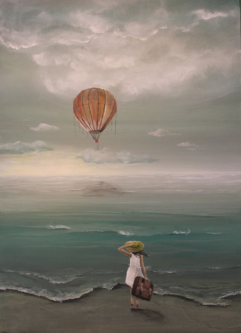 bild hei luftballon wolken himmel reise von nadinekleier bei kunstnet. Black Bedroom Furniture Sets. Home Design Ideas