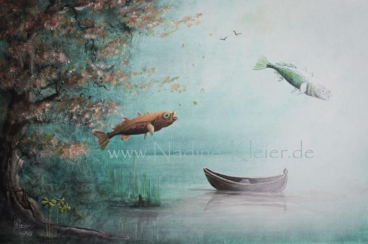 See, Natur, Ufer, Fische, Boot, Vogel