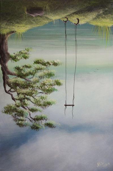 Himmel, Entspannung, Schaukel, Erde, Baum, Sommer
