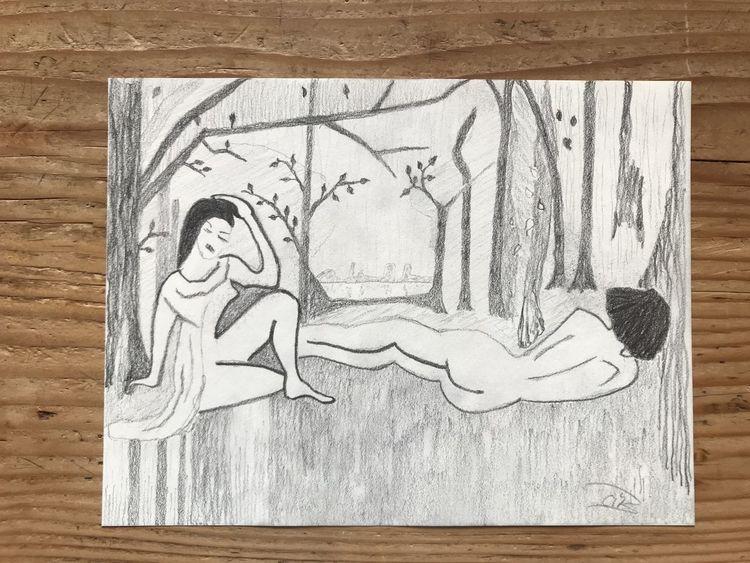 Liegend, Baum, Sitzen, Wiese, Menschen, Bleistiftzeichnung