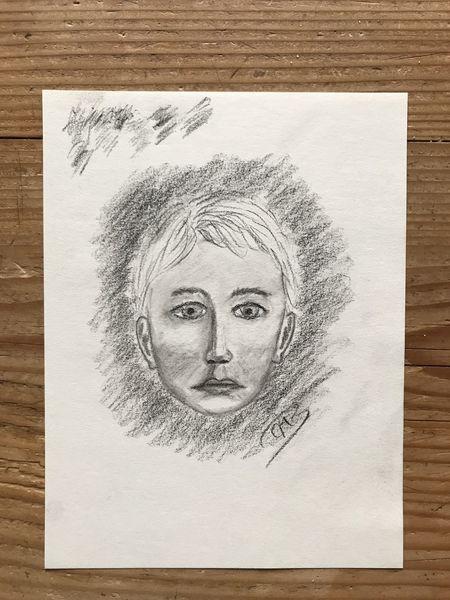 Zeichenpapier, Junge, Kohlezeichnung, Kopf, Portrait, Zeichnungen