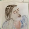 Brünett, Aufgestützt, Aquarellmalerei, Frau