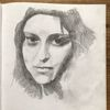 Menschen, Bleistiftzeichnung, Zeichenpapier, Frau