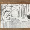 Menschen, Bleistiftzeichnung, Wald, Frau