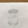 Wasserglas, Trinkhalm, Glas, Bleistiftzeichnung