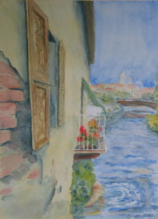 Aquarell, Postkarte, Freie, Italien, Interpretation