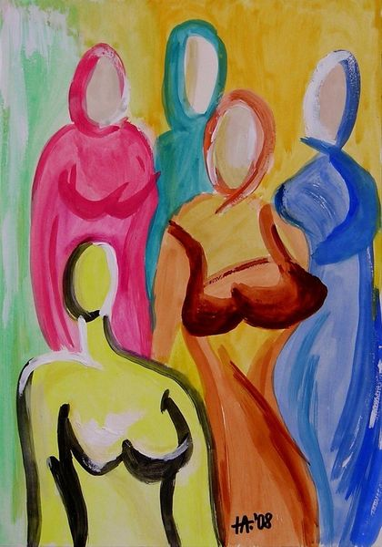 Brust, Menschen, Frau, Aquarell
