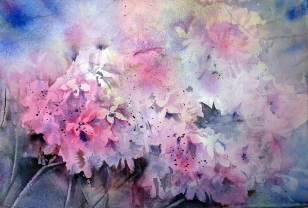 Hortensien, Blumen, Aquarell