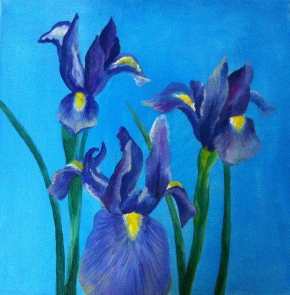 Grün, Blau, Blumen, Malerei