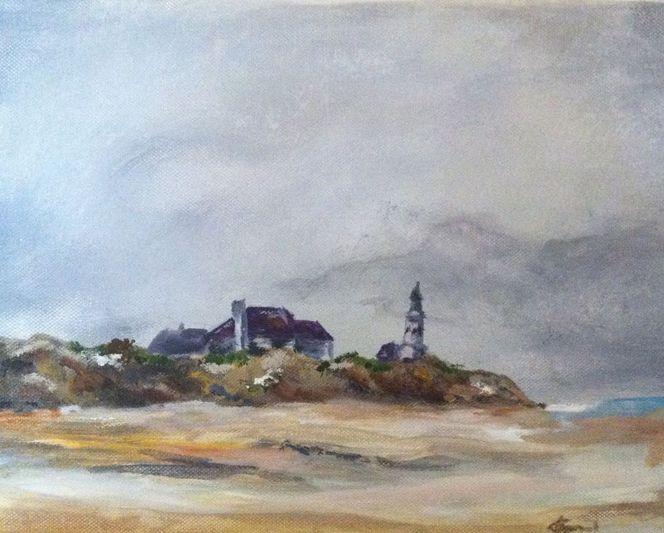 Ostsee, Leuchtturm, Winter, Malerei