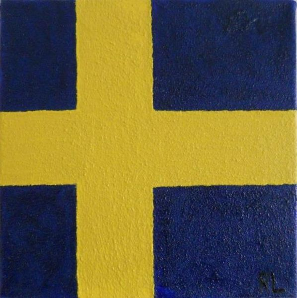 Gelb, Kreuz, Schweden, Blau, Quarzsand, Mischtechnik