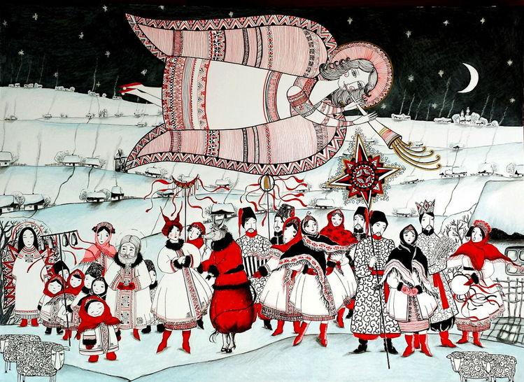 Schnee, Ziegen, Menschen, Mann, Mond, Rot