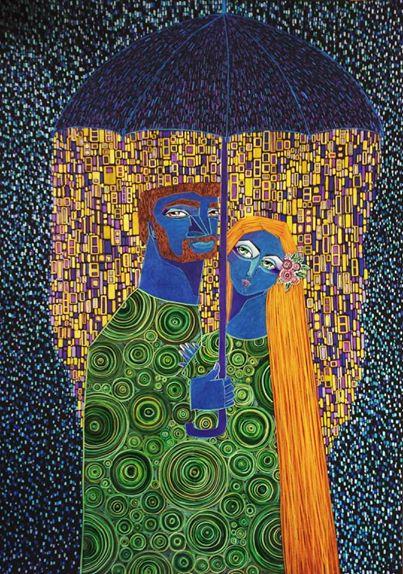 Paar, Regen, Frau, Regenschirm, Malerei