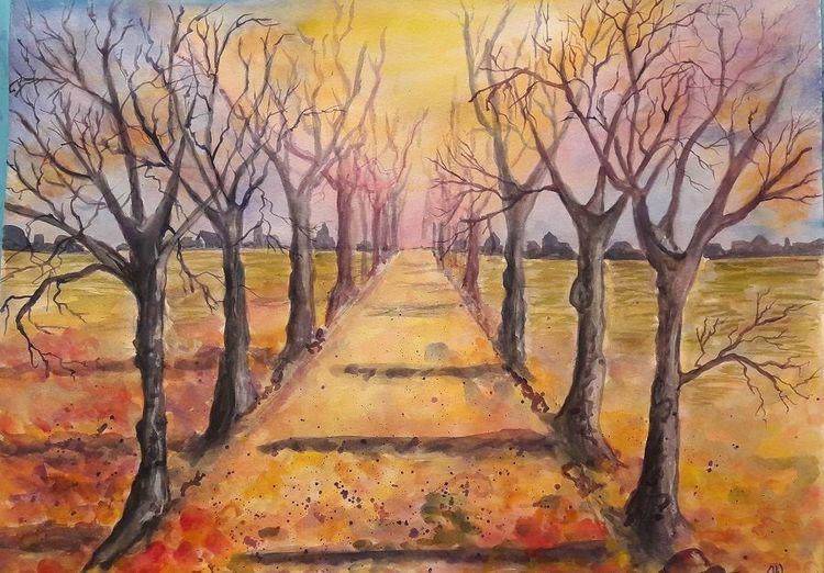 Aquarellmalerei, Herbst, Allee, Baum, Landschaft, Malerei