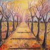 Aquarellmalerei, Allee, Herbst, Baum