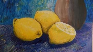 Acrylmalerei, Stillleben, Zitrone, Malerei
