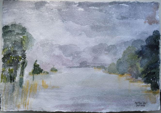 Aquarellmalerei, Landschaft, Nebel, See, Brandenburg, Aquarell