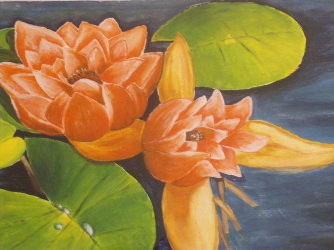 Teich, Malerei, Seerosen, Pflanzen, Seerosenteich