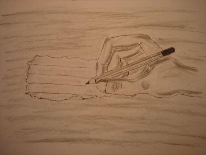 Hand, Stift, Kohlezeichnung, Kohle, Zettel, Schreiben