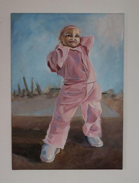 Strampelanzug, Kleinkind, Rosa, Portrait, Poser, Jung