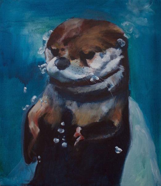 Zoo, Wasser, Blase, Otter, Tiere, Malerei