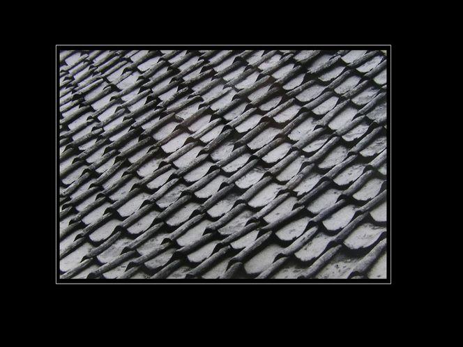 Stillleben, Dachziegel, Schwarzweiß, Dach, Struktur, Architektur
