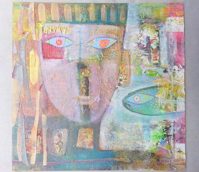 Erde, Blick, Fisch, Collage, Malerei, Kopf