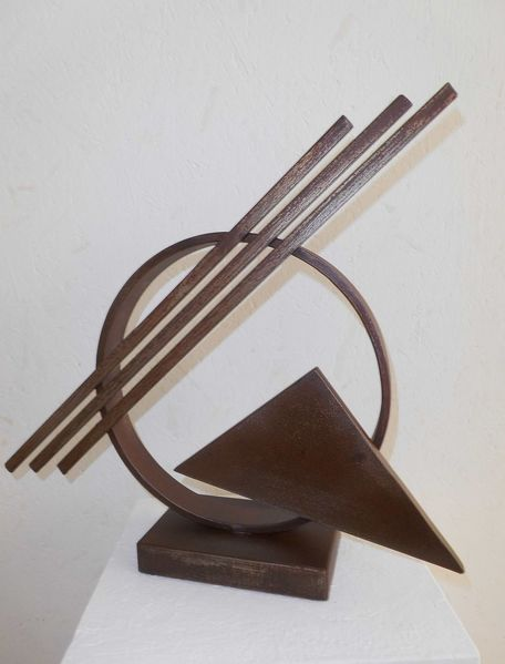 Skulptur, Stahl, Rost, Plastik, Dreieck, Kreis