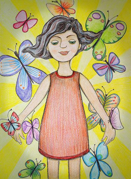 Sonne, Mädchen, Schmetterling, Zeichnungen, Madame