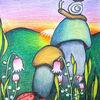 Schnecke, Sonnenuntergang, Käfer, Blumen
