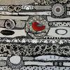 Rot schwarz, Collage, Weiß, Vogel