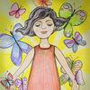 Mädchen, Schmetterling, Sonne, Zeichnungen