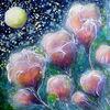 Mond, Blüte, Nacht, Acrylmalerei