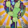Baum, Strahlen, Friedensvögel, Malerei