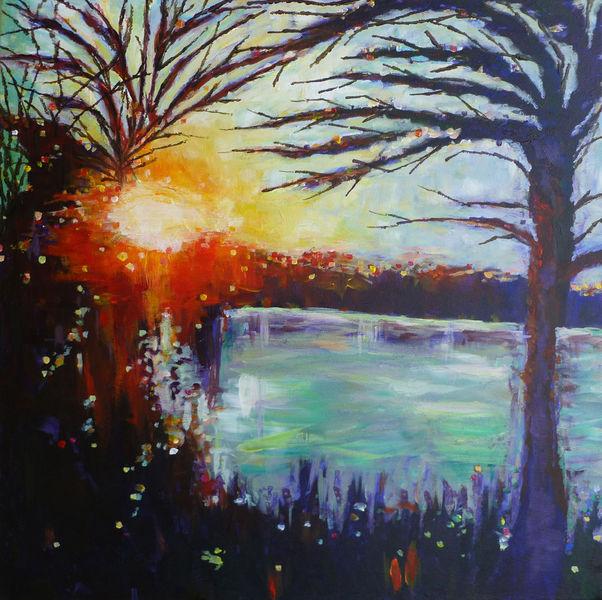 Sonnenuntergang, Acrylmalerei, See, Sonne, Malerei