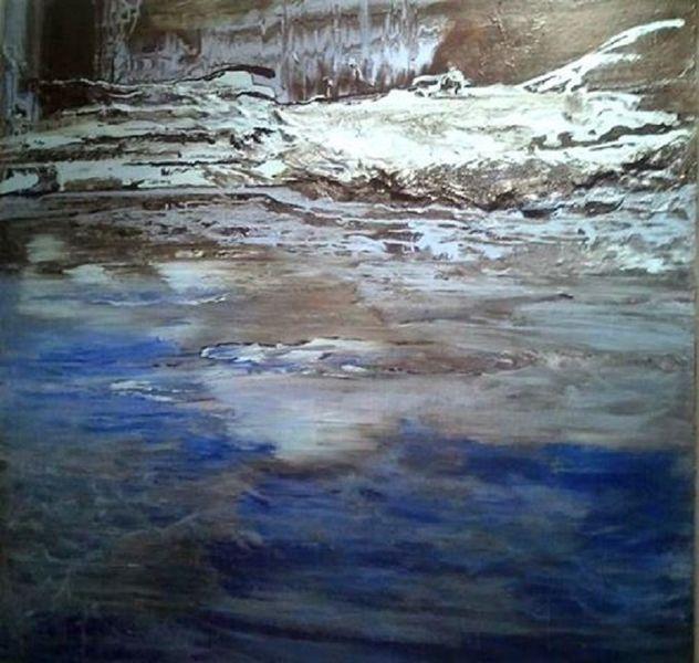 Weiß, Acryl auf leinwand, Blau, Ruhe, Einrichtung, Wasser