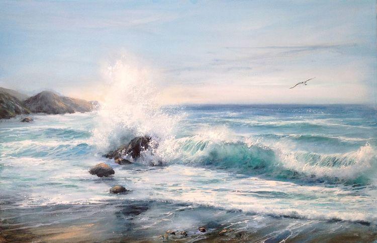 Stein, Licht, Welle, Strand, Wasser, Möwe
