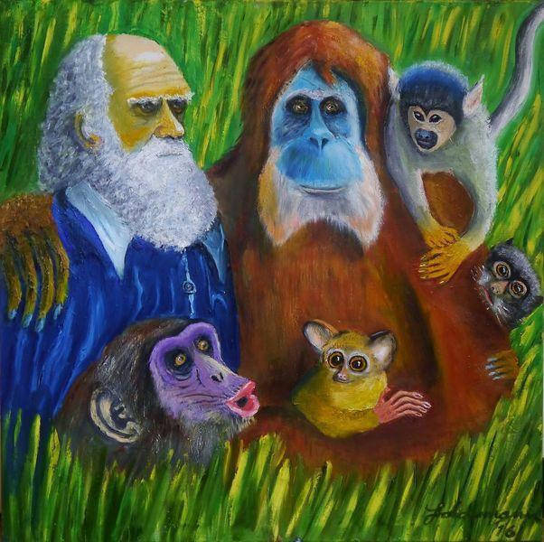 Evolutionstheorie, Die primatenfamilie, Fantasie, Charles darwin, Primaten, Familie