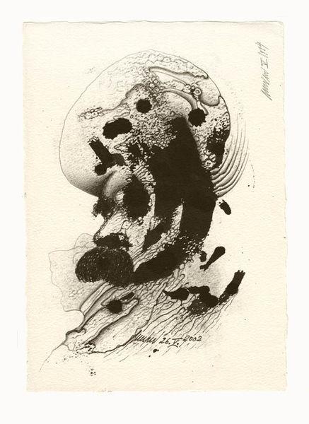 Zeichnung, Grafik, Surreal, Peter linden, Monotypie, Kugelschreiber