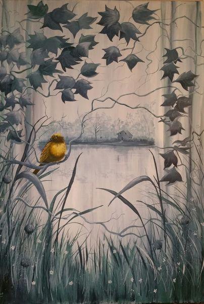 Grau, Gelb, Natur, Vogel, Landschaft, Malerei