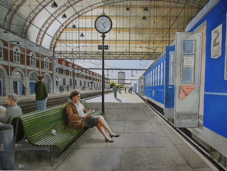 Aquarellfarben, Stadt, Bahnhof, Realismus, Gemälde, Bahn