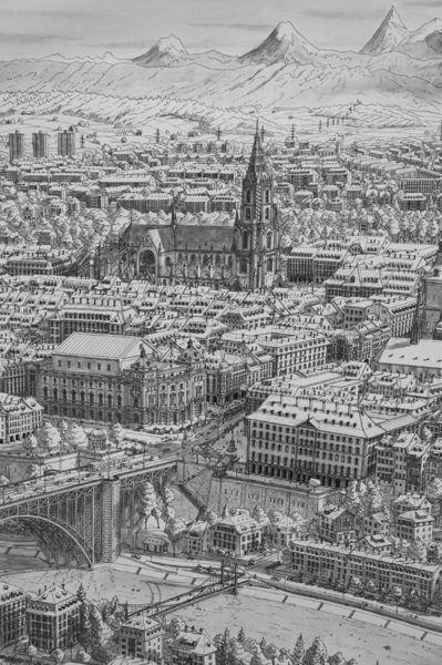 Stadt, Schweiz, Bern, Realismus, Bergen, Zeichnung