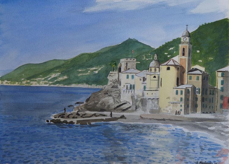 Realismus, Malerei, Bergen, Meer, Licht, Landschaft