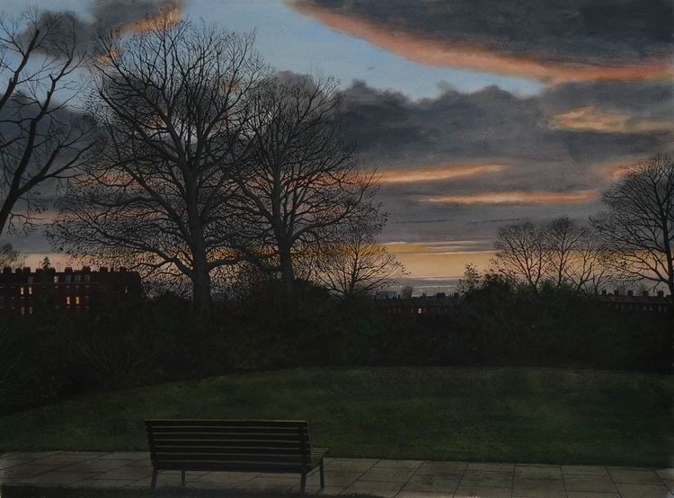 Aquarellmalerei, Dämmerung, Winter, Park, Realismus, Baum
