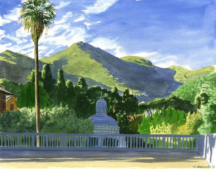 Realismus, Grün, Landschaft, Italien, Aquarellmalerei, Gelb