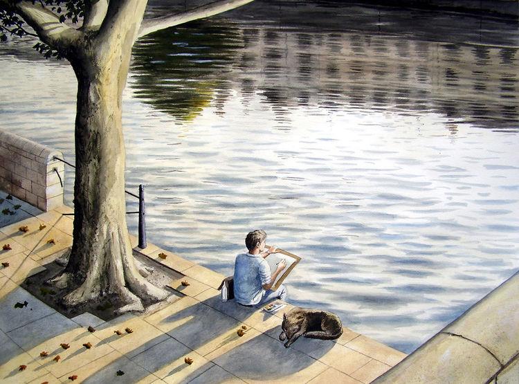 Licht, Realismus, Aquarellfarben, Gemälde, Hund, Aquarellmalerei