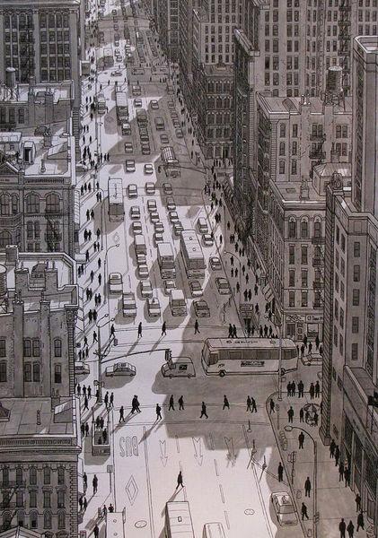 New york, Stadt, Architektur, Verkehr, Zeichnung, Realismus
