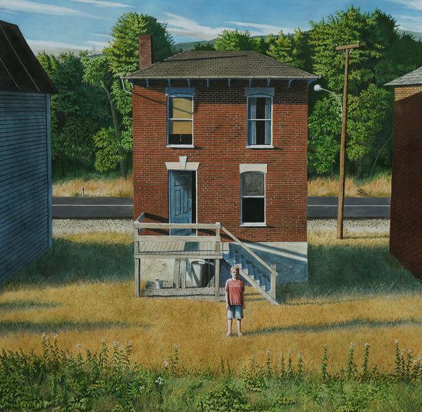 Licht, Haus, Gemälde, Realismus, Malerei, Zug