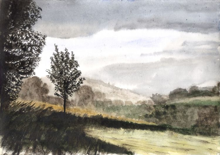 Baum, Landschaft, Wiese, Berge, Nebel, Aquarell